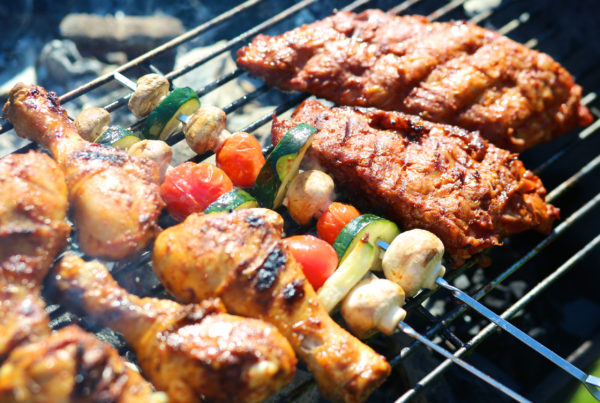 Grilled meat and vegetables on BBQ Prahran Market Sizzlefest